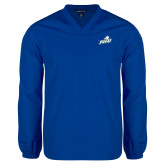V Neck Royal Raglan Windshirt-Primary Athletic Mark