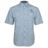 Light Blue Short Sleeve Performance Fishing Shirt-University Mark Stacked