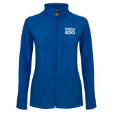 Ladies Fleece Full Zip Royal Jacket-FGCU at 20 Stacked