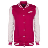 Ladies Pink Raspberry/White Fleece Letterman Jacket-FGCU Tone