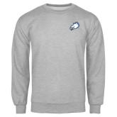 Grey Fleece Crew-Eagle Head