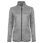 Grey Heather Ladies Fleece Jacket-Primary Athletic Mark
