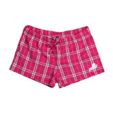 Ladies Dark Fuchsia/White Juniors Flannel Plaid Boxer-Primary Athletic Mark