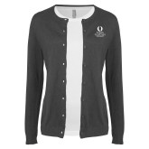 Ladies Charcoal Cardigan-University Mark Stacked