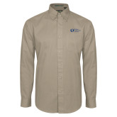 Khaki Twill Button Down Long Sleeve-University Mark Flat