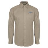 Khaki Twill Button Down Long Sleeve-University Mark Flat