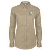 Ladies Khaki Twill Button Down Long Sleeve-Primary Athletic Mark