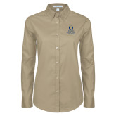 Ladies Khaki Twill Button Down Long Sleeve-University Mark Stacked