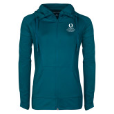 Ladies Sport Wick Stretch Full Zip Sapphire Jacket-University Mark Stacked