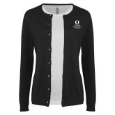 Ladies Black Cardigan-University Mark Stacked
