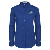 Ladies Royal Twill Button Down Long Sleeve-Primary Athletic Mark