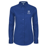 Ladies Royal Twill Button Down Long Sleeve-University Mark Stacked