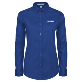 Ladies Royal Twill Button Down Long Sleeve-FGCU at 20 Flat