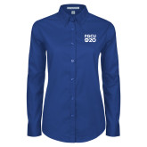 Ladies Royal Twill Button Down Long Sleeve-FGCU at 20 Stacked