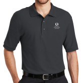 Charcoal Easycare Pique Polo-University Mark Stacked