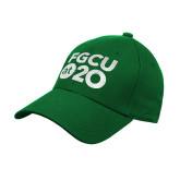 Kelly Green Heavyweight Twill Pro Style Hat-FGCU at 20 Stacked