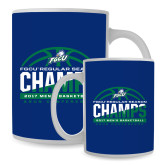 Full Color White Mug 15oz-Regular Season Champions 2017 Mens Basketball Half Ball Design