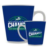 Full Color Latte Mug 12oz-Regular Season Champions 2017 Mens Basketball Half Ball Design