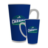 Full Color Latte Mug 17oz-Regular Season Champions 2017 Mens Basketball Half Ball Design