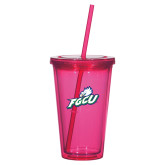 Madison Double Wall Pink Tumbler w/Straw 16oz-Primary Athletic Mark