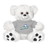 Plush Big Paw 8 1/2 inch White Bear w/Grey Shirt-Primary Athletic Mark