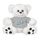 Plush Big Paw 8 1/2 inch White Bear w/Grey Shirt-Primary Athletic Mark