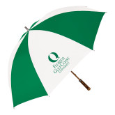 64 Inch Kelly Green/White Umbrella-University Mark Stacked