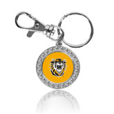 Crystal Studded Round Key Chain-Victor E. Tiger