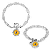 Crystal Jewel Toggle Bracelet with Round Pendant-Victor E. Tiger