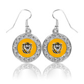 Crystal Studded Round Pendant Silver Dangle Earrings-Victor E. Tiger