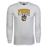 White Long Sleeve T Shirt-Arched FHSU Tigers w/ Tiger