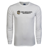 White Long Sleeve T Shirt-Fort Hays State University Flat w/ Tiger