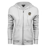 ENZA Ladies White Fleece Full Zip Hoodie-Victor E. Tiger