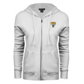 ENZA Ladies White Fleece Full Zip Hoodie-Arched FHSU Tigers w/ Tiger