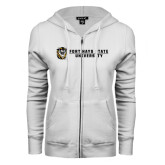ENZA Ladies White Fleece Full Zip Hoodie-Fort Hays State University Flat w/ Tiger