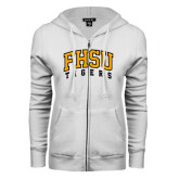 ENZA Ladies White Fleece Full Zip Hoodie-Arched FHSU Tigers