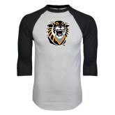 White/Black Raglan Baseball T-Shirt-Victor E. Tiger