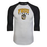 White/Black Raglan Baseball T-Shirt-Arched FHSU Tigers w/ Tiger