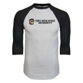 White/Black Raglan Baseball T-Shirt-Fort Hays State University Flat w/ Tiger