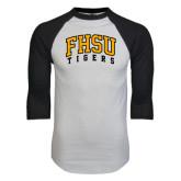 White/Black Raglan Baseball T-Shirt-Arched FHSU Tigers