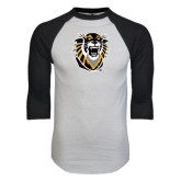 White/Black Raglan Baseball T-Shirt-Victor E. Tiger Distressed