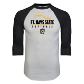 White/Black Raglan Baseball T-Shirt-Stacked Softball Design