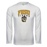 Performance White Longsleeve Shirt-Arched FHSU Tigers w/ Tiger