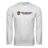 Performance White Longsleeve Shirt-Fort Hays State University Flat w/ Tiger