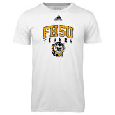Adidas Climalite White Ultimate Performance Tee-Arched FHSU Tigers w/ Tiger