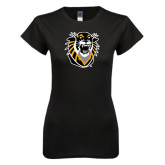 Next Level Ladies SoftStyle Junior Fitted Black Tee-Victor E. Tiger