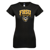 Next Level Ladies SoftStyle Junior Fitted Black Tee-Arched FHSU Tigers w/ Tiger