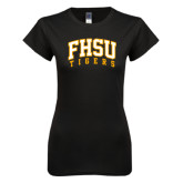 Next Level Ladies SoftStyle Junior Fitted Black Tee-Arched FHSU Tigers