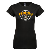 Next Level Ladies SoftStyle Junior Fitted Black Tee-Arched Basketball Design