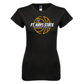 Next Level Ladies SoftStyle Junior Fitted Black Tee-Basketball Outline Design